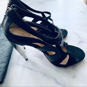 L.A.M.B. Silver Cone Open Toe Black Suede Heels